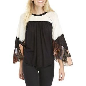 FREE PEOPLE | Dolman Embroidered Sleeve Top | S